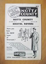 NOTTS COUNTY v BRISTOL ROVERS 1957/1958 (8th Feb Postponed) *VG Cond Programme*