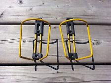 PAIR X2 VINTAGE BICYCLE WATER BOTTLE CAGE HOLDER ITALY MARINONI ELITE NOS YELLOW