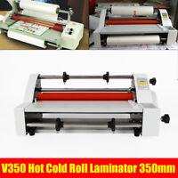 "V350 13"" 350mm Hot Cold Roll Laminator Laminating Machine Single&Dual Sided USA"