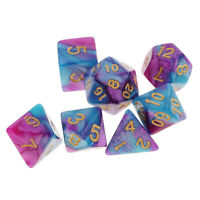 Pack of 7pcs Polyhedral Dice for DND TRPG MTG Party Game Toy Set Purple Blue
