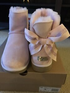 New UGG Customizable Bailey Bow Mini Boots Seashell Pink Women's 8