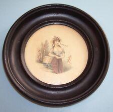 "RARE GEORGIAN MINIATURE PRINT ""THE DAIRY MAID"" TURNED EBONISED FRAME C.1826"