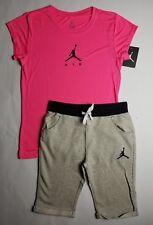 Nike Air Jordan Girls 2 PC Set Shirt Tee & Capri Shorts Outfit Size Large