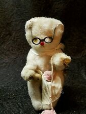 Wind up toy knitting bear vintage 1950s from Milkweed Vintage Home