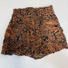 Via Max Vintage Shorts Lightweight Floral Small Zipper Back Orange/ Black