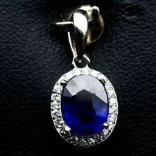 NATURAL 7 X 9mm. BLUE SAPPHIRE & WHITE CZ STERLING 925 SILVER PENDANT