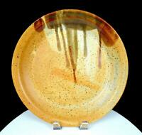 "NEWLANDS SIGNED NORTHWEST ART POTTERY TAN SPECKLED DRIP GLAZE 12"" PLATTER"