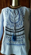 3/4 sleeved cotton blue embroidered top, size L