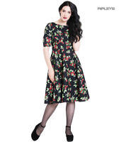 Hell Bunny 40s 50s Black Pin Up Dress CHERIE Cherry Blossom All Sizes