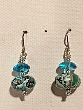 Beaded Dangle Earrings Surgical Hook New Howlite Dyed Hand made (B)