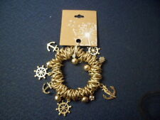 New Chunky Nautical Themed Stretchable Gold Tone Bracelet (69)