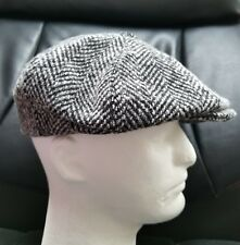 fcb2571c32f Mens Black White Tweed Newsboy Wool Blend Button Hat Cap Size M NWOT