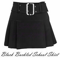 Ladies Womens Plain Black Buckled Skirt Short Mini Back Zip Side Pleated UK 6-16