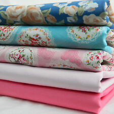 5 New Fat Quarter FQ Bundle 100% Cotton Fabric Pink Blue Shabby Chic Floral 008