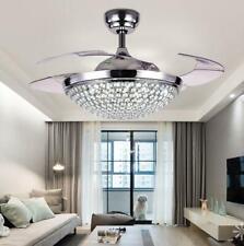 "42"" Retractable Crystal Ceiling Fan Light Silver Remote Control Chandelier Lamp"