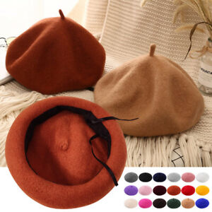 Winter Ladies Wool Beret Caps Beanie French Style Vintage Plain Womens Hats Warm