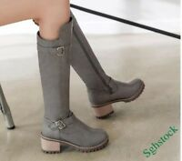 Punk Women's Knee High Boots Buckle Mid Block Heels Round Toe Knight Shoes SIZE