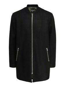 Only & Sons Mens Winter Warm Wool Trench Coat Full Zip Up Long Jacket Outwear