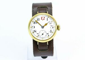 Antique 1910s WWI Officer's Trench Wristwatch Large Lume Hands Leather Bracelet