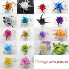 Shiny Rose Flower Feather Prom Wrist Corsage  Fascinator Pin Brooch 17 colors