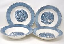 CURRIER and IVES EARLY WINTER MAPLE SUGARING 8 1/2 & 9 1/4 BOWLS Lot of 4