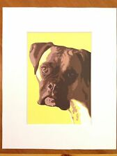 dog art boxer with 8X10 mat yellow brown urban fine art ALSO AVAILABLE AS A CARD