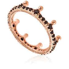 Pandora Ladies Black Sparkling Crown Ring Size 54 (US 7)