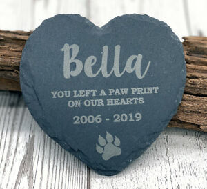 Personalised Pet Cat Heart Slate Gravestone Memorial Plaque Kitten Grave Marker