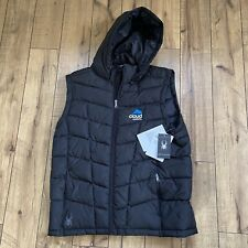 Spyder Pelmo ThermaWeb XT Hooded Puffer Vest Jacket Black Large Cloud Systems