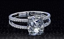 3.30 ct Brilliant Cushion Cut Split Shank Engagement Ring in Solid 14k WhiteGold