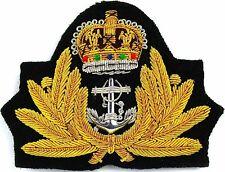 ROYAL NAVY OFFICER HAT CAP CAPT ADMIRAL Bullion Badge KING CROWN