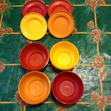 New listing Set of 4 Vintage Tupperware 1436 Seal & Serve Autumn Harvest Colors Bowls & Lids