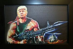 Rambo Trump Canvas Framed Art Picture