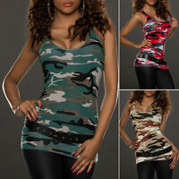 MILITARY Womens CAMO Vest Top SLIM Sleeveless Blouse Casual Tank Tops T-Shirt