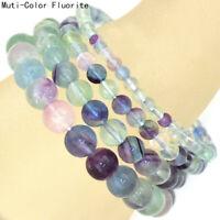 Natural 4mm 6mm 8mm 10mm Multi-Color Fluorite Gemstone Beads Stretch Bracelet