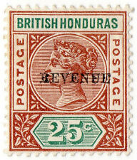 (I.B) British Honduras Revenue : Duty 25c (overprint error)