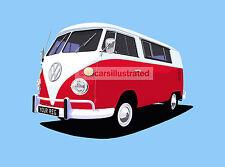 VW SPLIT SCREEN CAMPER VAN ART PRINT (SIZE A4). PERSONALISE IT!