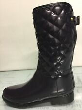 Hunter Refined Gloss Quilt Short Aubergine Boots SZ 10