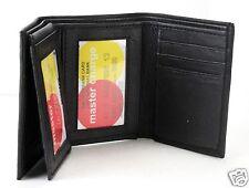 Mens Trifold Genuine Leather Windows Wallet Black Credit Card ID Up Flip Case