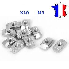 10 écrou M3 pour profilé aluminium 20x20 - M3 T Nut 20mm T-Slot / V-Slot - t-nut