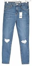 NEW Topshop SUPER SKINNY JAMIE High Waisted Blue RIPPED Jeans Size 10 W28 L30