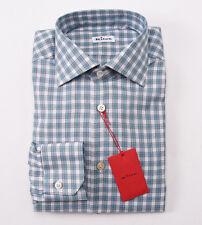 NWT $875 KITON NAPOLI Teal Blue-Gray Check Dress Shirt 17 x 36 Modern-Fit