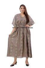 New Womens Casual Short Sleeve Baggy Cotton Ajrakh Long Maxi Dress Kaftan Plus