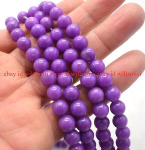 "Natural 6/8/10mm Purple Phosphosiderite Round Gemstone Loose Beads 15"""