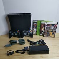 Microsoft XBOX 360 Black Bundle 2 Controllers, 4 Games, Cords 250GB TESTED WORKS