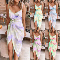Womens Holiday Tie-Dye Tank Strappy Belt Ladies Split Sundress Midi V neck Dress