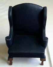 NEW Vintage Dollhouse Miniature UPHOLSTERED BLUE WING CHAIR B. Shackman #3478