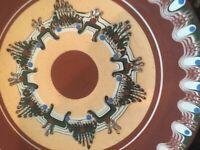 Beautiful Pair of Wall Hanging Plates, Peru Native Pottery Geometric Design MB79