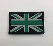 Union Jack Green & Black Badge TRF, Military, Army, Sleeve Patch, Hook Loop