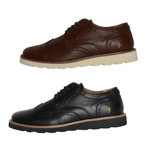 Mens Farah Footwear Brogue Style Lace Up Faux Leather Shoes Sizes from 6 to 12